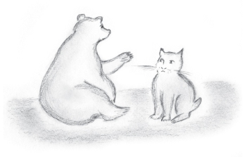 Bobcat & Bear in Cave-Illo-For Web